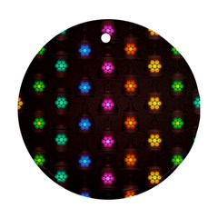 Lanterns Background Lamps Light Round Ornament (two Sides)