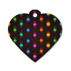 Lanterns Background Lamps Light Dog Tag Heart (two Sides)