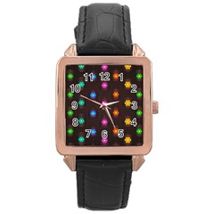 Lanterns Background Lamps Light Rose Gold Leather Watch