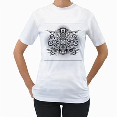 Forest Patrol Tribal Abstract Women s T Shirt (white) (two Sided)