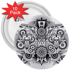 Forest Patrol Tribal Abstract 3  Buttons (10 Pack)  by Nexatart