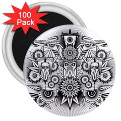 Forest Patrol Tribal Abstract 3  Magnets (100 Pack)