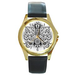Forest Patrol Tribal Abstract Round Gold Metal Watch
