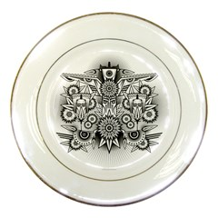 Forest Patrol Tribal Abstract Porcelain Plates by Nexatart