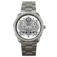 Forest Patrol Tribal Abstract Sport Metal Watch