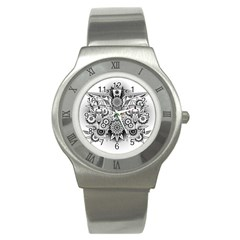 Forest Patrol Tribal Abstract Stainless Steel Watch by Nexatart