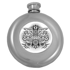 Forest Patrol Tribal Abstract Round Hip Flask (5 Oz)