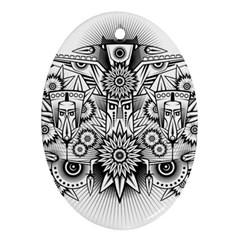 Forest Patrol Tribal Abstract Oval Ornament (two Sides)