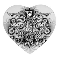Forest Patrol Tribal Abstract Heart Ornament (two Sides)