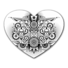 Forest Patrol Tribal Abstract Heart Mousepads by Nexatart