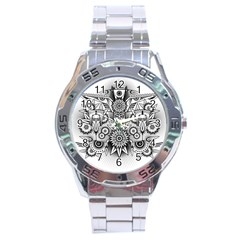 Forest Patrol Tribal Abstract Stainless Steel Analogue Watch