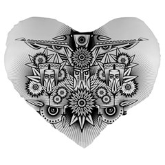Forest Patrol Tribal Abstract Large 19  Premium Heart Shape Cushions