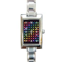 Background Colorful Geometric Rectangle Italian Charm Watch