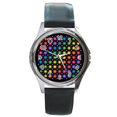Background Colorful Geometric Round Metal Watch