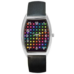 Background Colorful Geometric Barrel Style Metal Watch