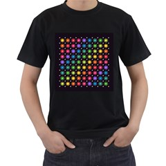 Background Colorful Geometric Men s T Shirt (black) (two Sided)