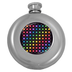 Background Colorful Geometric Round Hip Flask (5 Oz)