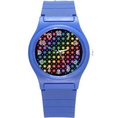 Background Colorful Geometric Round Plastic Sport Watch (s)