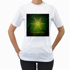 Christmas Snowflake Card E Card Women s T Shirt (white) (two Sided)