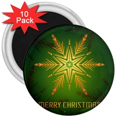 Christmas Snowflake Card E Card 3  Magnets (10 Pack)