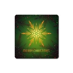 Christmas Snowflake Card E Card Square Magnet by Nexatart