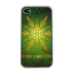 Christmas Snowflake Card E Card Apple Iphone 4 Case (clear)
