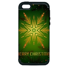 Christmas Snowflake Card E Card Apple Iphone 5 Hardshell Case (pc+silicone)