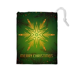 Christmas Snowflake Card E Card Drawstring Pouches (large)