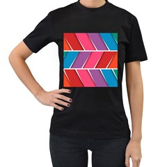 Abstract Background Colorful Women s T Shirt (black) (two Sided)