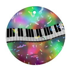 Piano Keys Music Colorful 3d Ornament (round)