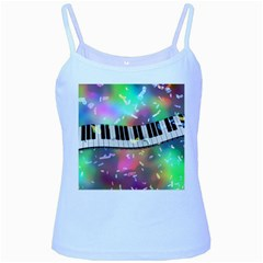 Piano Keys Music Colorful 3d Baby Blue Spaghetti Tank