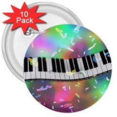 Piano Keys Music Colorful 3d 3  Buttons (10 Pack)