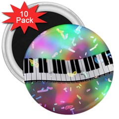 Piano Keys Music Colorful 3d 3  Magnets (10 Pack)