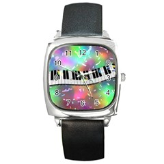 Piano Keys Music Colorful 3d Square Metal Watch