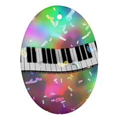 Piano Keys Music Colorful 3d Oval Ornament (two Sides)