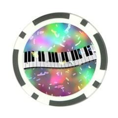 Piano Keys Music Colorful 3d Poker Chip Card Guard