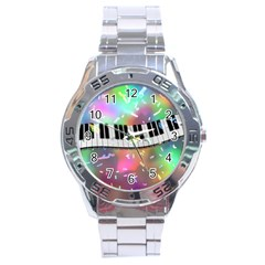 Piano Keys Music Colorful 3d Stainless Steel Analogue Watch