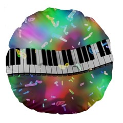 Piano Keys Music Colorful 3d Large 18  Premium Round Cushions