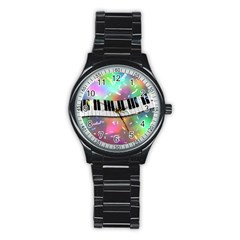 Piano Keys Music Colorful 3d Stainless Steel Round Watch