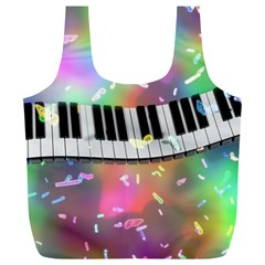 Piano Keys Music Colorful 3d Full Print Recycle Bags (l)