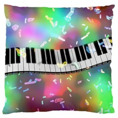Piano Keys Music Colorful 3d Large Flano Cushion Case (two Sides)