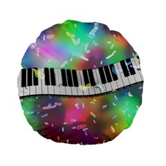Piano Keys Music Colorful 3d Standard 15  Premium Flano Round Cushions
