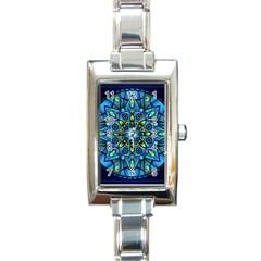 Mandala Blue Abstract Circle Rectangle Italian Charm Watch