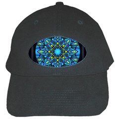 Mandala Blue Abstract Circle Black Cap