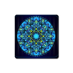 Mandala Blue Abstract Circle Square Magnet