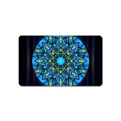 Mandala Blue Abstract Circle Magnet (name Card)
