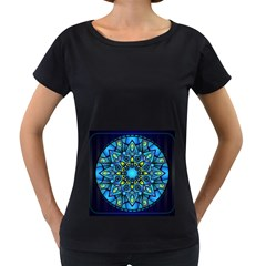 Mandala Blue Abstract Circle Women s Loose Fit T Shirt (black) by Nexatart