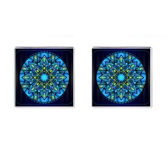 Mandala Blue Abstract Circle Cufflinks (square)