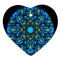 Mandala Blue Abstract Circle Heart Ornament (two Sides) by Nexatart