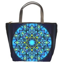 Mandala Blue Abstract Circle Bucket Bags